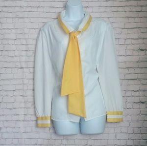 [VINTAGE] JOYCE white and yellow tie blouse